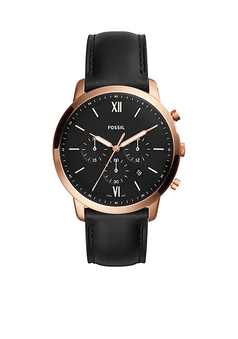 Fossil® Stainless Steel Chronograph Black Leather Watch