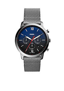 Smoke Stainless Steel Neutra Chronograph Leather Watch
