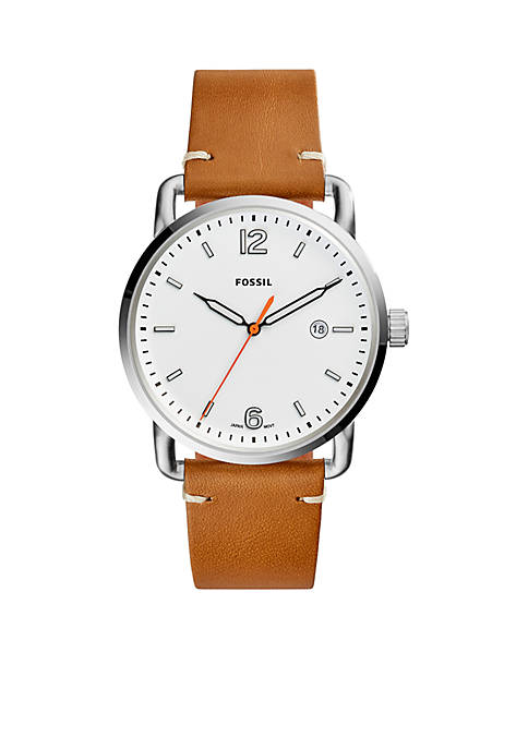 Fossil® Stainless Steel The Commuter Three-Hand Date Leather
