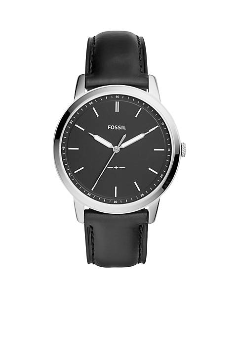 Fossil® Mens Stainless Steel Minimalist Leather Strap Watch