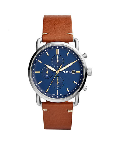 Fossil® Mens Commuter Chronograph Light Brown Leather Watch