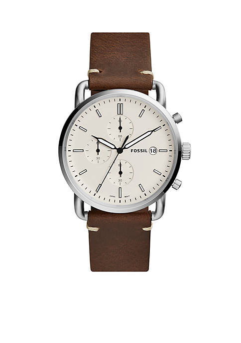 Fossil® Mens Commuter Chronograph Brown Leather Watch