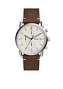 Men's Commuter Chronograph Brown Leather Watch
