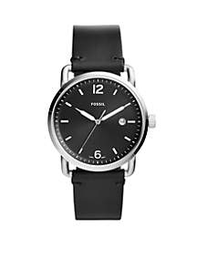 Men's Commuter Three-Hand Date Black Leather Watch