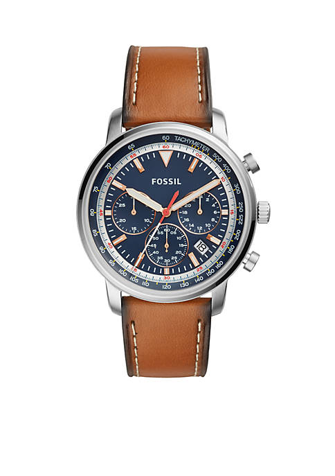 Fossil® Mens Goodwin Chronograph Light Brown Leather Watch