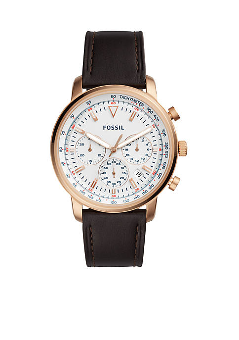 Fossil® Mens Goodwin Chronograph Brown Leather Watch