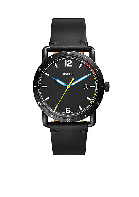 Fossil® Mens Commuter Three-Hand Date Black Leather Watch