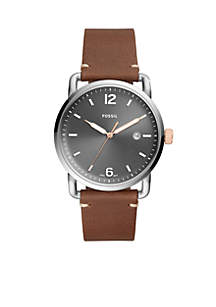 Men's Commuter Three-Hand Date Light Brown Leather Watch