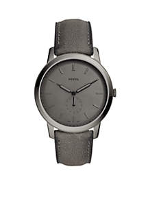 Stainless Steel The Minimalist Two-Hand Leather Strap Watch