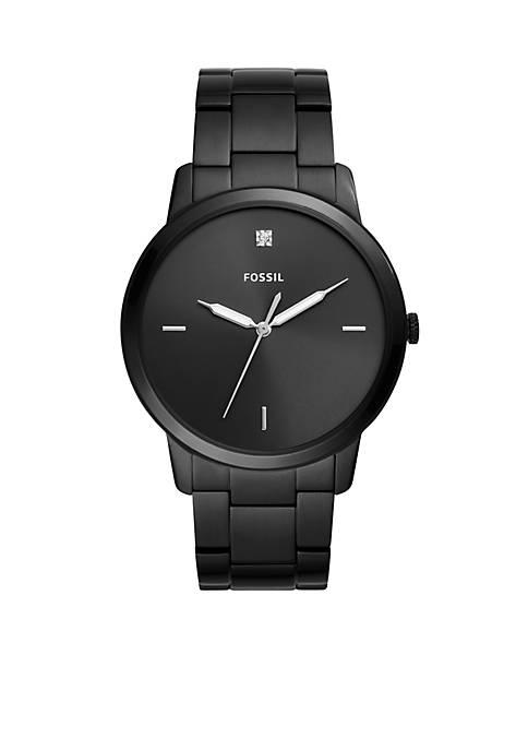 Mens Stainless Steel The Minimalist Carbon Series Three-Hand Bracelet Watch