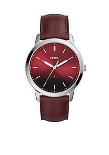 Men's Stainless Steel The Minimalist Three-Hand Oxblood Leather Watch