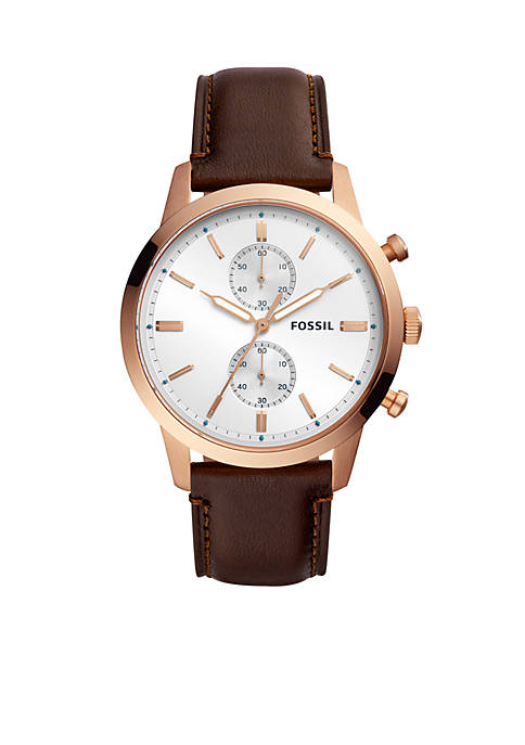 Fossil® Mens Stainless Steel Townsman Chronograph Java Leather