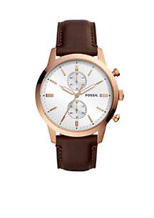 Men's Stainless Steel Townsman Chronograph Java Leather Watch