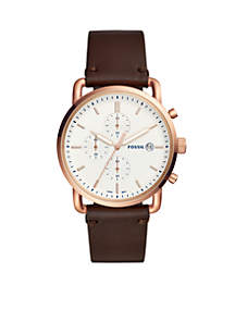 Mens Gold Tone Stainless Steel Commuter Chronograph Java Leather Watch