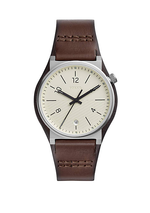 Fossil® Barstow Three-Hand Brown Leather Watch