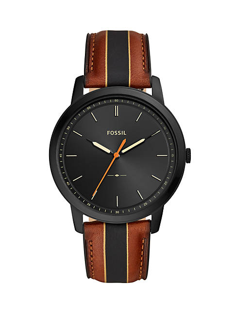Fossil® Minimalist 3 Hand Striped Luggage Leather Watch