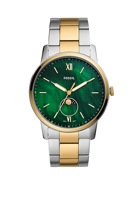 Fossil® Mens The Minimalist Moonphase Three-Hand Two-Tone