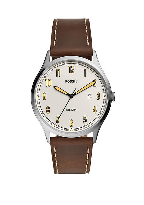 Fossil® Mens Forrester Three-Hand Date Brown Leather Watch
