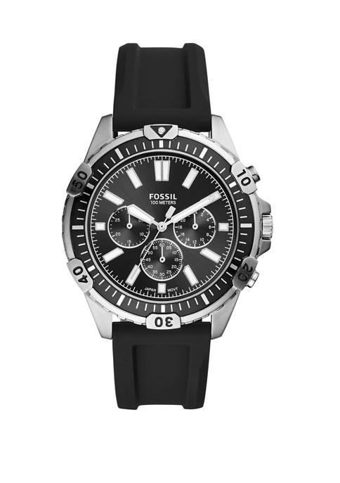 Fossil® Garrett Chronograph Black Silicone Watch