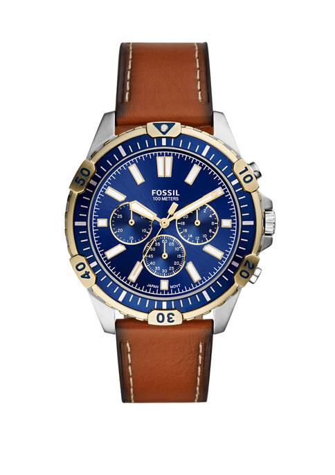 Fossil® Garrett Chronograph Luggage Leather Watch