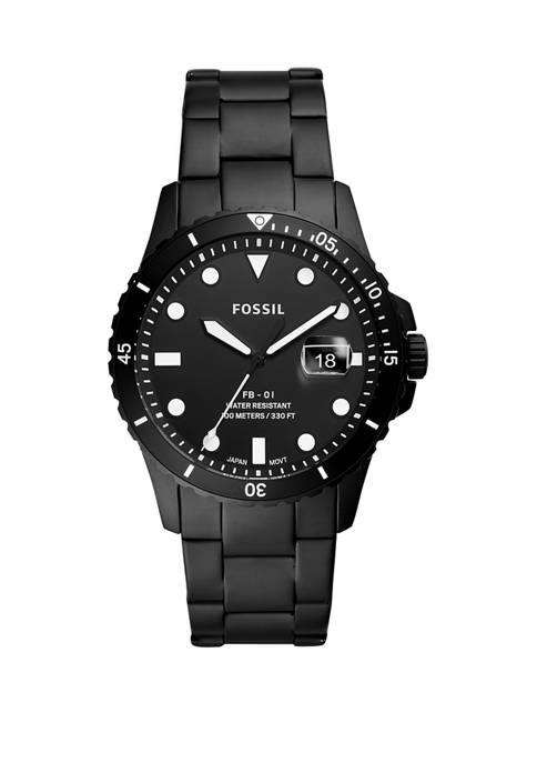 Fossil® Mens Blue Dive Black Stainless Steel Bracelet