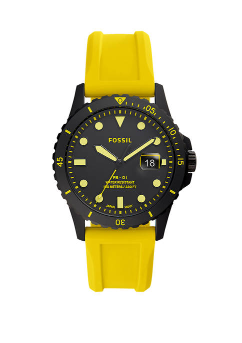 Fossil® Yellow Silicone Watch