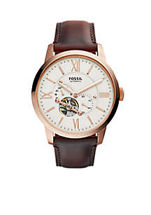 Townsman Dark Brown Leather Automatic Watch