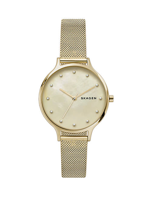 Anita Mother of Pearl Mesh Watch