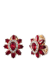 Gold-Tone Stone Flower Clip Earrings