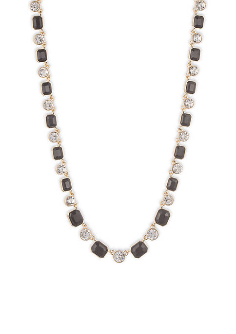 Gold-Tone Stone Collar Necklace