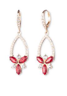 Gold-Tone Stone Cluster Drop Earrings