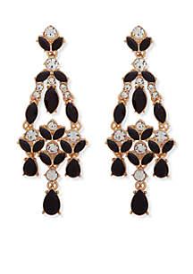 Gold-Tone Stone Chandelier Earrings