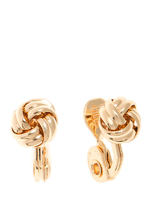 Anne Klein Button Knot Clip Earrings
