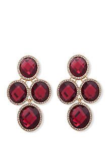 Anne Klein Gold Tone Crystal Oval EZ Comfort Clip Stone Chandelier Earrings