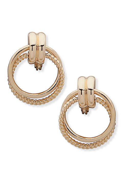 Anne Klein EZ Comfort Clip Doorknocker Earrings with