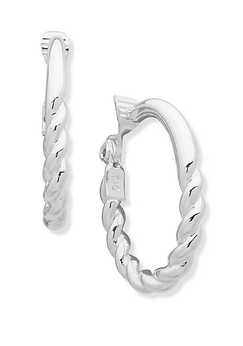 Anne Klein EZ Comfort Clip Oval Hoop Earrings