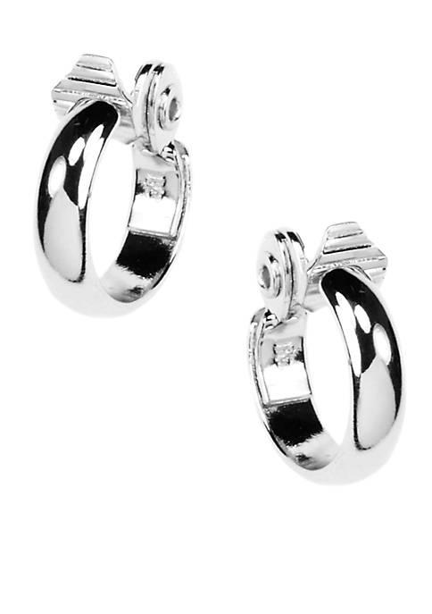 Anne Klein Silver-Tone Clip Hoop Earrings