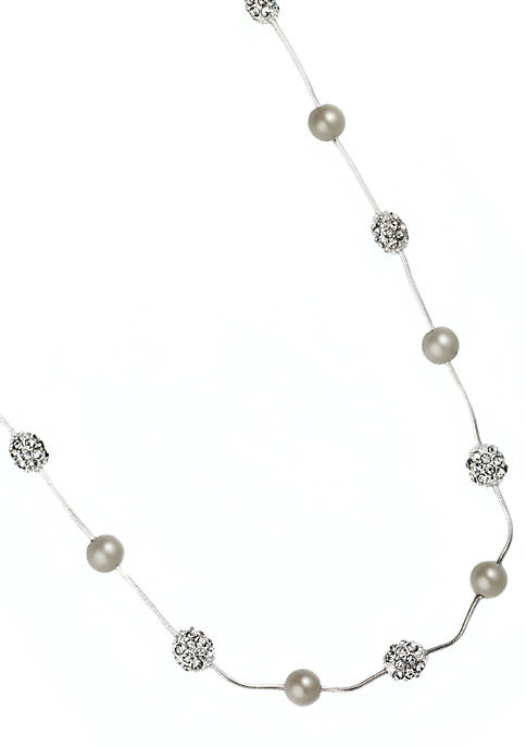 Anne Klein Pearl and Fireball Illusion Necklace