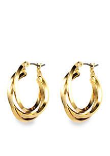 Gold Tone Three Ring Hoop Earrings