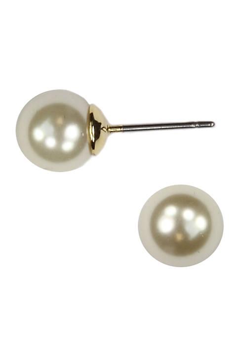 Anne Klein Cream Pearl Stud Earrings