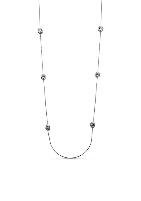 Anne Klein Silver-Tone Long Fireball Necklace