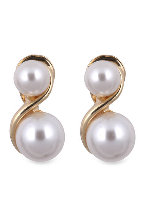 Anne Klein Pearl S Clip Earring