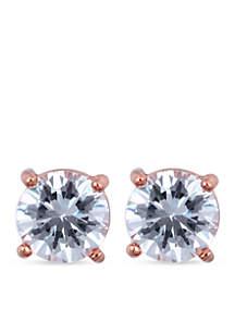 Rose Gold-Tone Crystal Stud Earrings