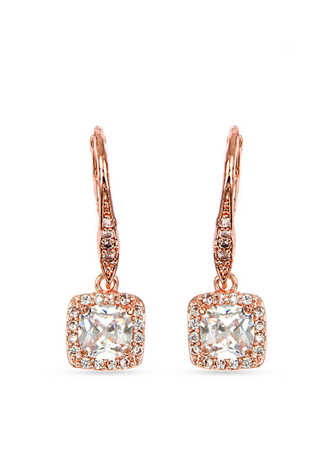 Rose Gold-Tone Stone Earrings