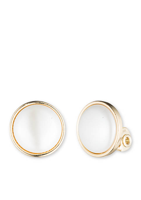 Anne Klein Gold-Tone Faux Pearl Clip Earrings