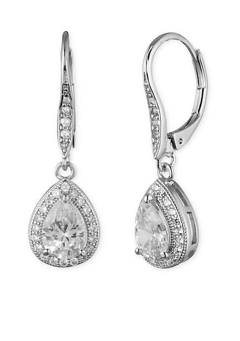 Silver-Tone Anne Klein Crystal Pear Drop Earrings