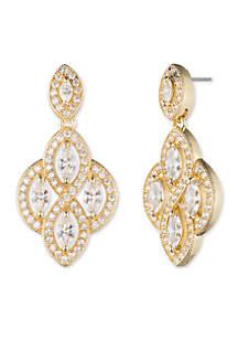 Gold-Tone Crystal Chandelier Earrings