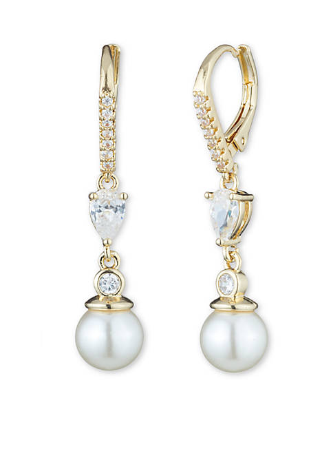 Anne Klein Gold-Tone Small Pearl Drop Earrings