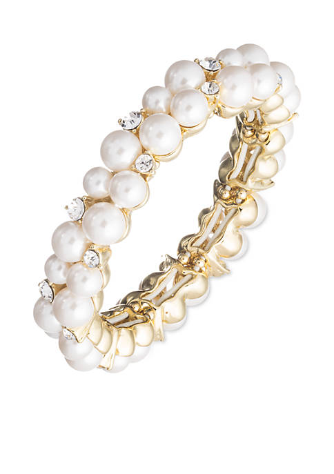 Gold Tone Anne Klein Pearl Crystal Stretch Bracelet