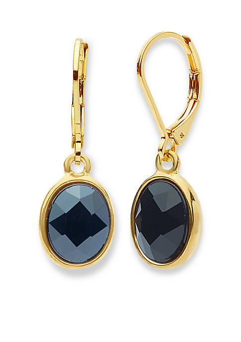 Anne Klein Gold-Tone Jet Drop Earrings